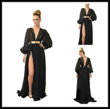 Black prom Dresses 2015 Long Sleeve Sexy V-neck Elegant Side Slit Chiffon A-line vestidos de festa vestido longo gowns