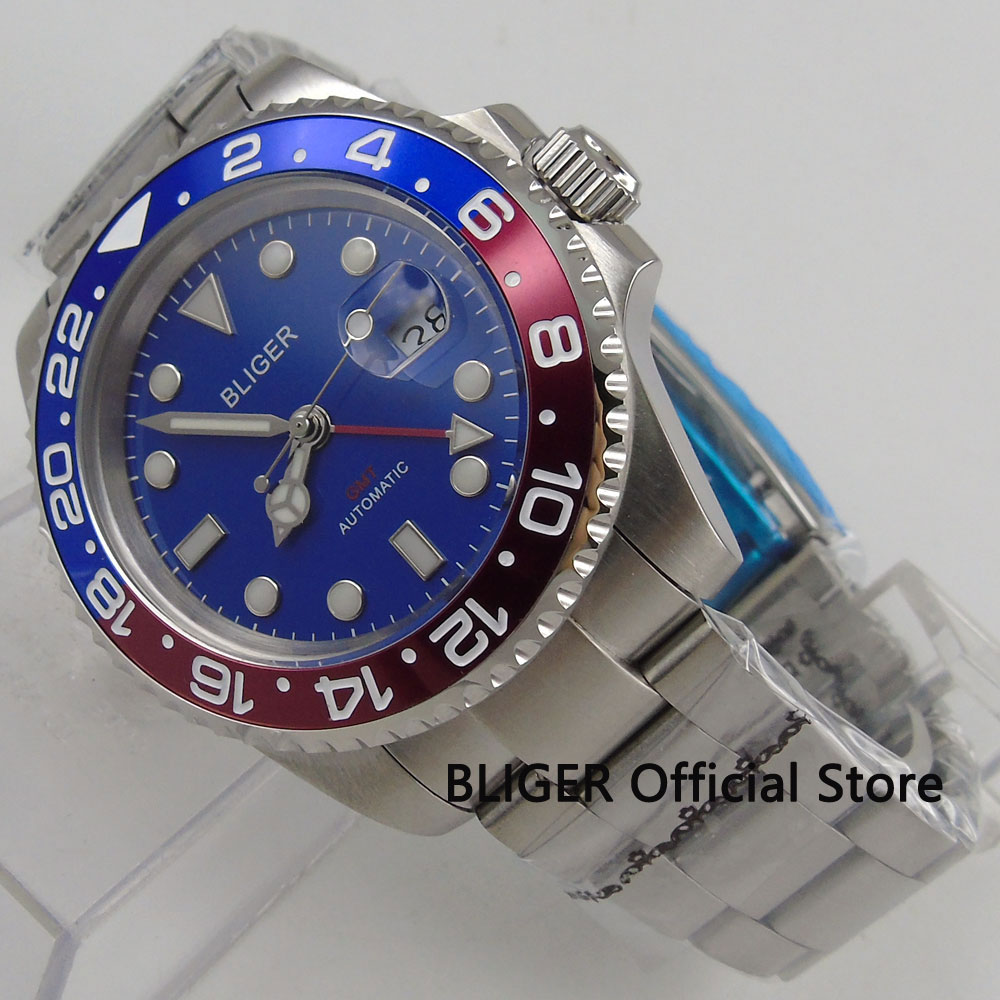 Sapphire Crystal BLIGER 40MM Blue Dial GMT Function Red Blue Bezel Luminous Marks Automatic Movement Men's Wrist Watch B180 цена и фото
