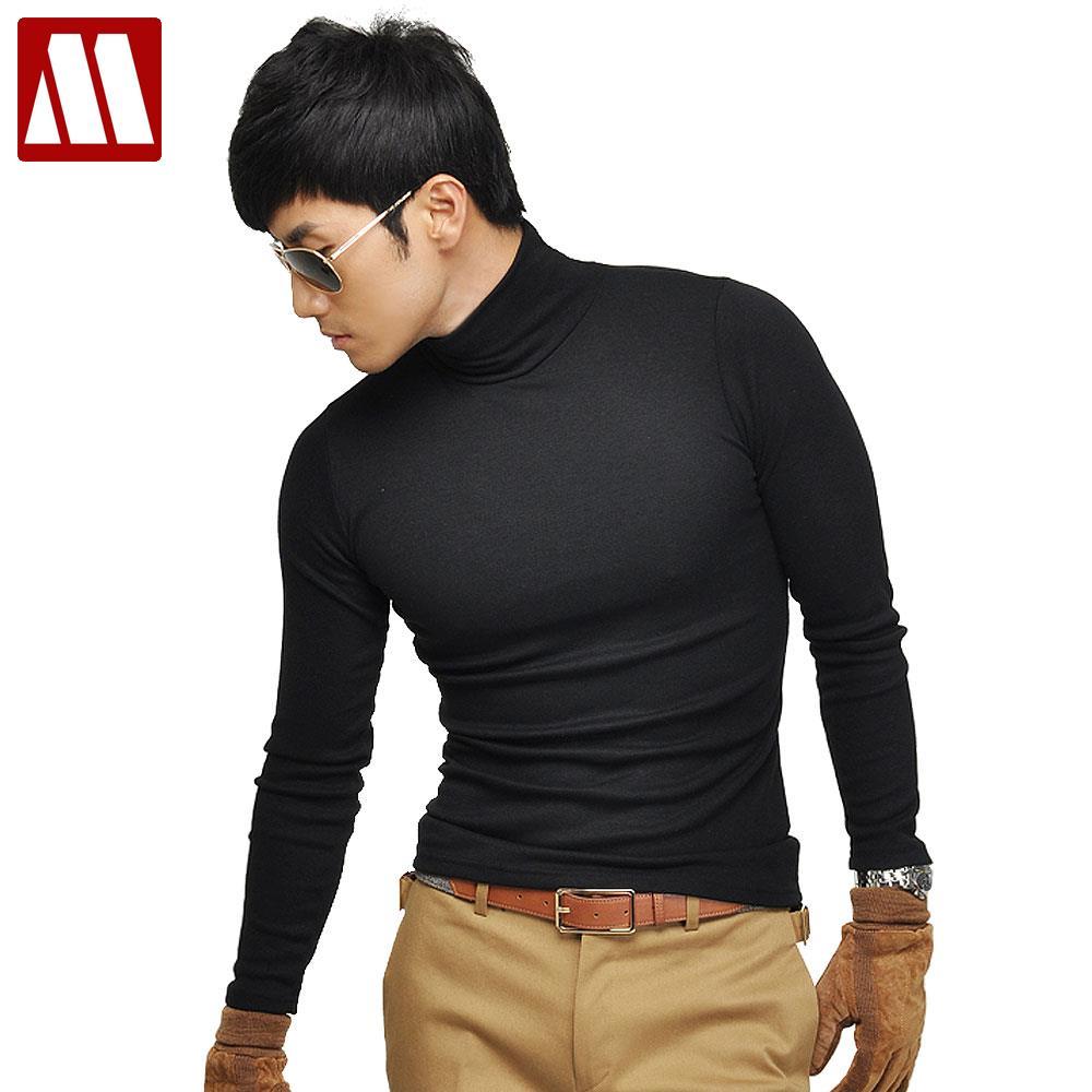 459dff2b224e 2019 Fall New Casual Men s Long Sleeves Man Cotton Turtleneck T Shirts Slim  Fit Stylish Dress T Shirts Big size tshirt S XXXL-in T-Shirts from Men s ...