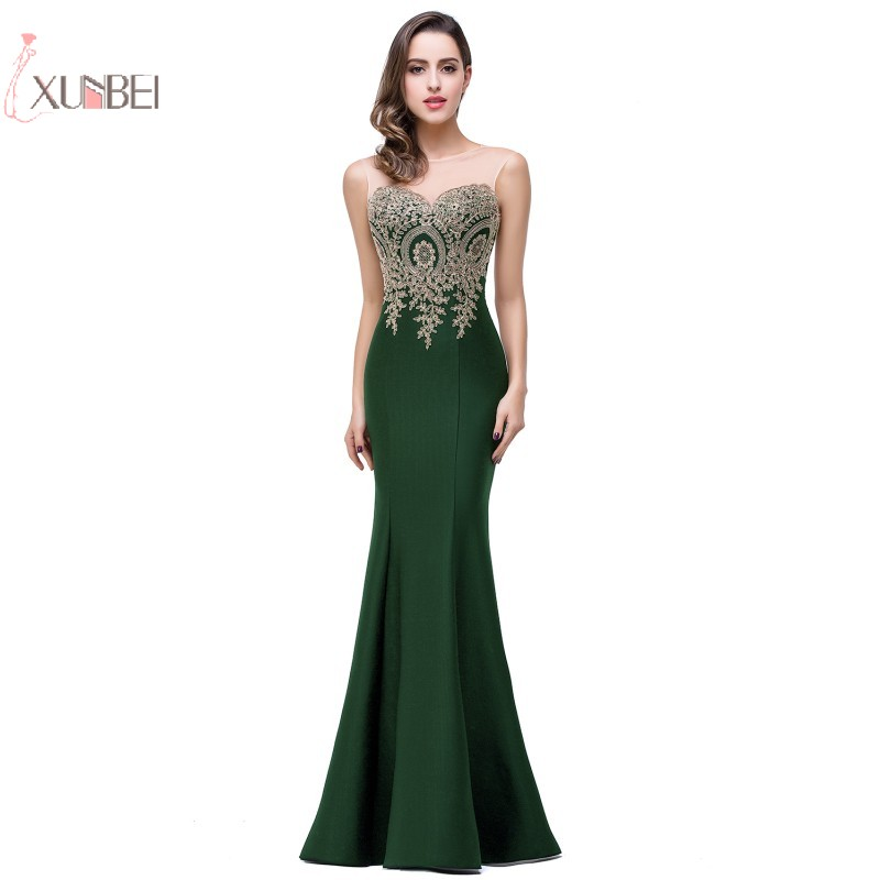 Deep Green Mermaid Long   Evening     Dress   2019 Lace Applique   Evening   Gown robe de soiree