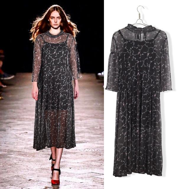 2017 Beaded Black Long Lace Mesh Layered Chiffon Midi Dress Plus ...