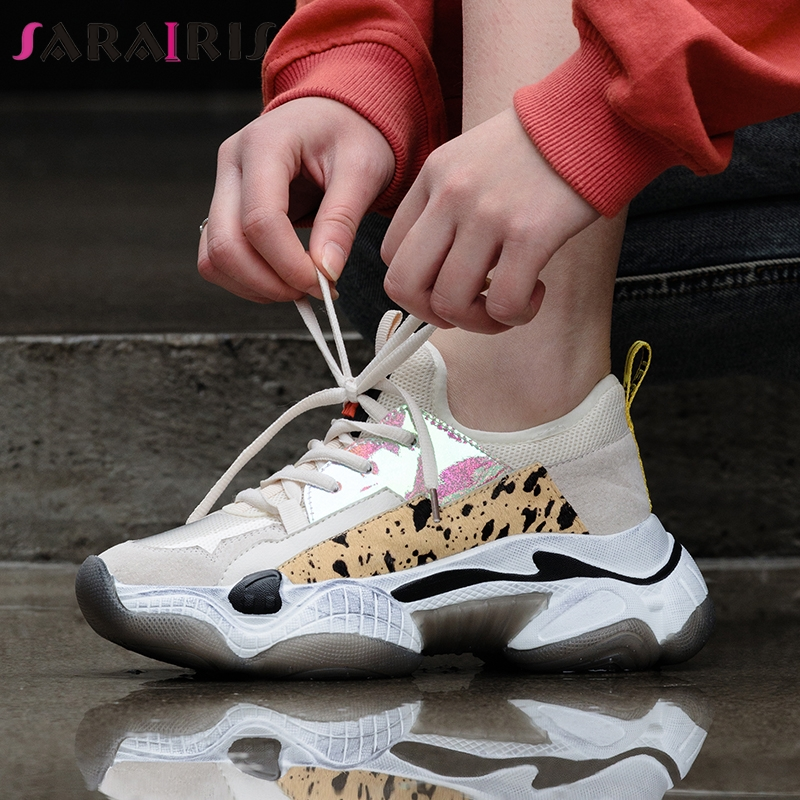 SARAIRIS 2019 New Summer INS Hot Women Horsehair Sneakers Cow   Leather     Suede   Large Size 35-42 Women Flat Platform Shoes Woman