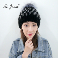 ST.Jessi 2019 Lady's 100% Real Mink Fur Plaid Headgear Natural Handmade Knitted With Silver Fox Fur Pom Poms Ball Thick Warm Cap