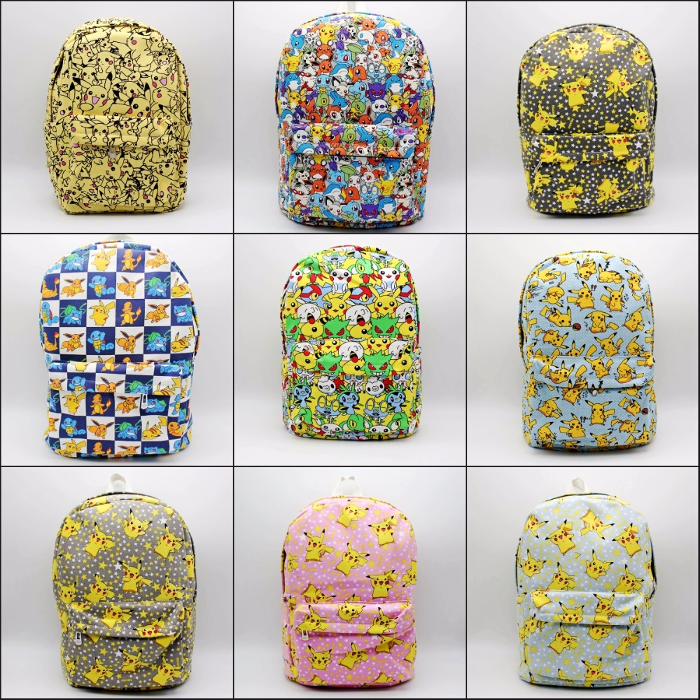 Game cartoon Pokemon Go Backpack Canvas School Bag Teenagers Mochila Shoulder Rucksack Travel Bags Pikachu Schoolbag 9 Styles japan pokemon harajuku cartoon backpack pocket monsters pikachu 3d yellow cosplay schoolbags mochila school book bag with ears