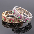 Exquisite Jewelry Hollow out Gold Plated Flower Created Ruby&Emerald Bracelets Bangles