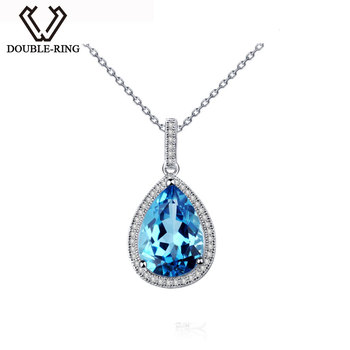 DOUBLE-R Female Natural Blue Topaz Stone Pendant 925 Sterling Silver Necklace Women Water Drop Romantic Jewelry PendantCAP02443A