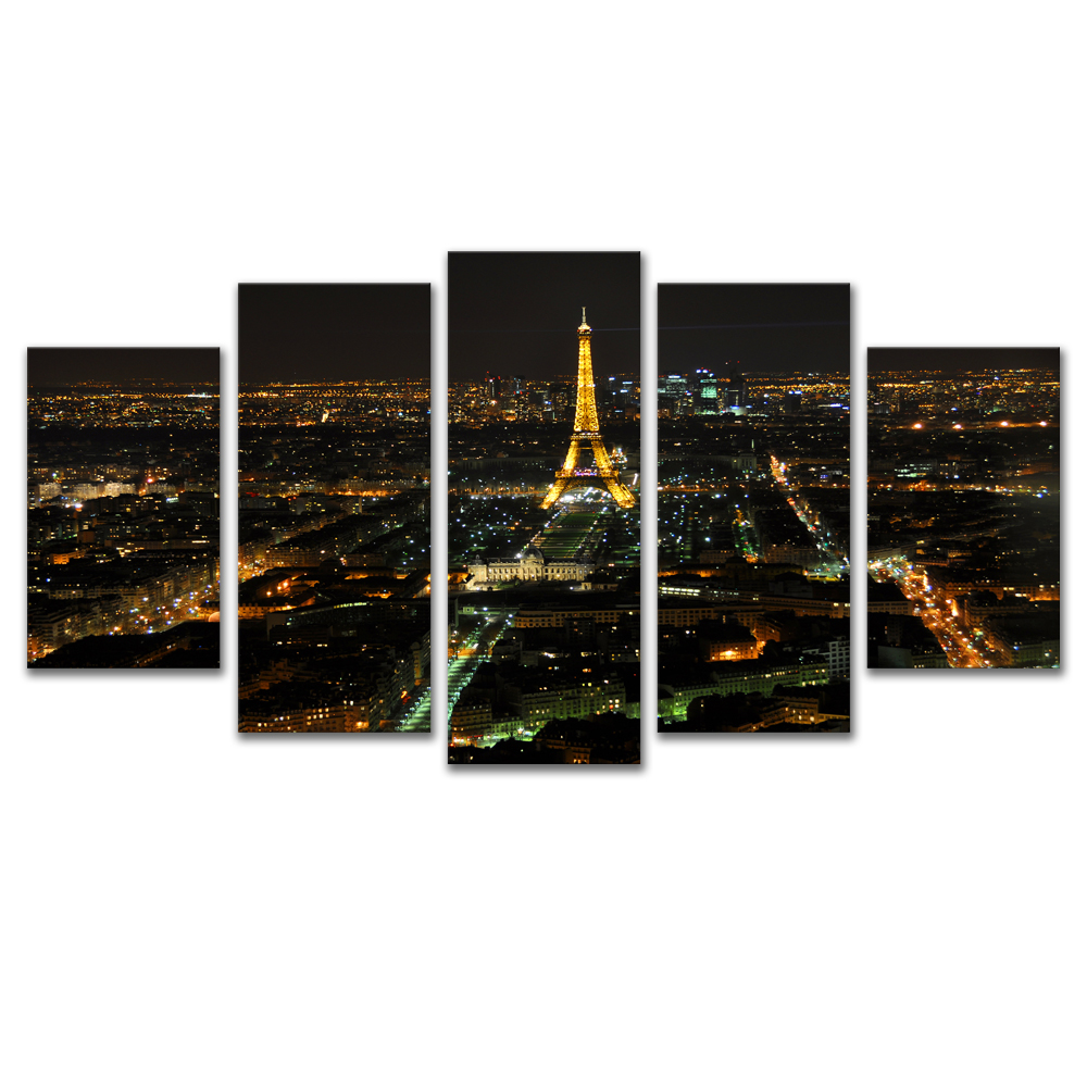 Unframed Canvas Painting City Night Scene EiffelTower Photo Picture Prints Wall Picture For Living Room Wall Art Decoration