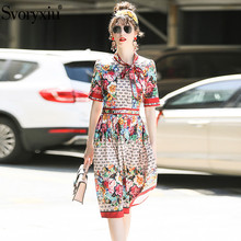 Svoryxiu Summer Runway Pleated Dress Women's High Quality Short Sleeve Letter Floral Print Slim Party Knee Length Dress