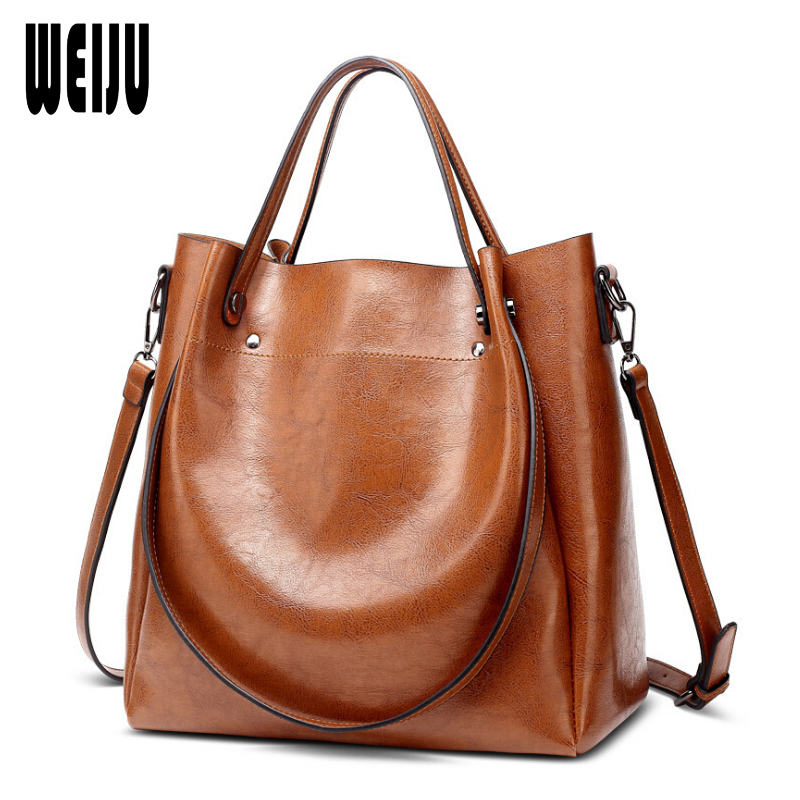 WEIJU Brand 2018 New European Women's Handbag Ladies PU Leather Bags Women Casual Tote Shoulder Bags Vintage Large Capacity Bag weiju new canvas women handbag large capacity casual tote bag women men shoulder bag messenger crossbody bags sac a main