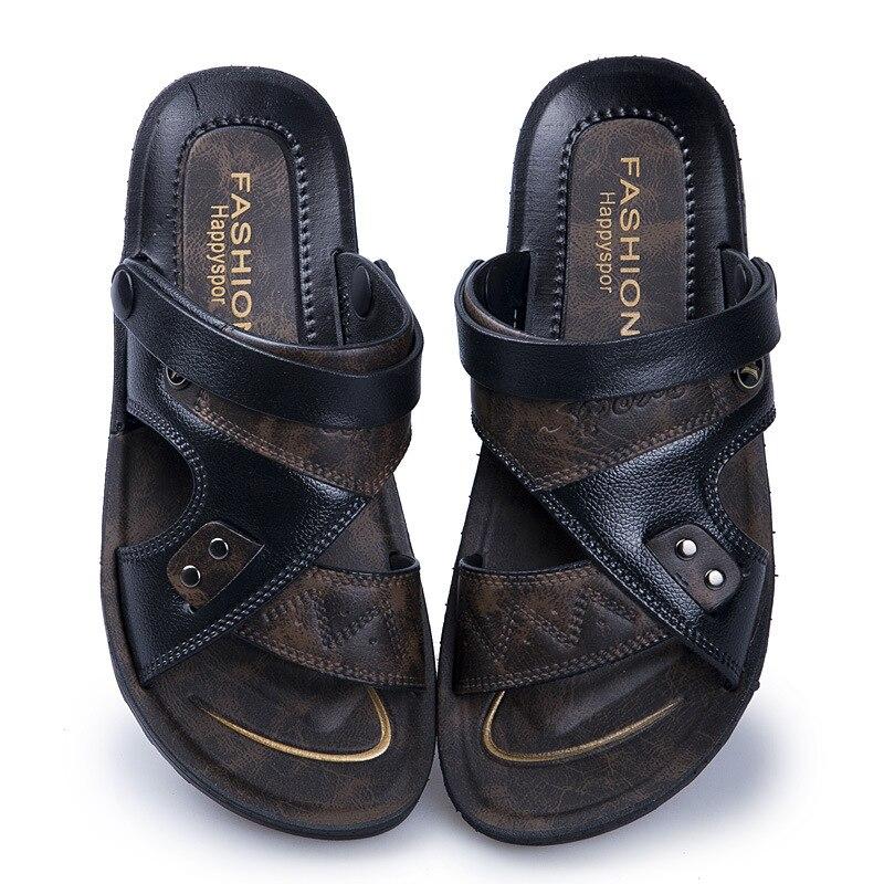 Mazefeng 2019 New Casual Men Soft Sandals Comfortable Men Summer Leather Sandals Men Roman Summer Outdoor Beach Sandals Big Size