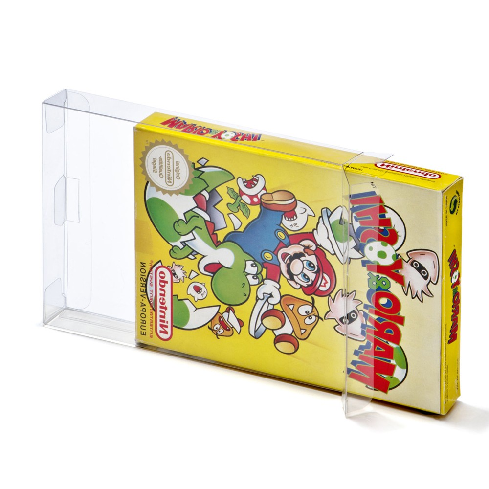 400pcs a lot Clear transparent for 8-bit for NES Game Box CIB games plastic PET for NES Protector Case for Nintendo game boxes