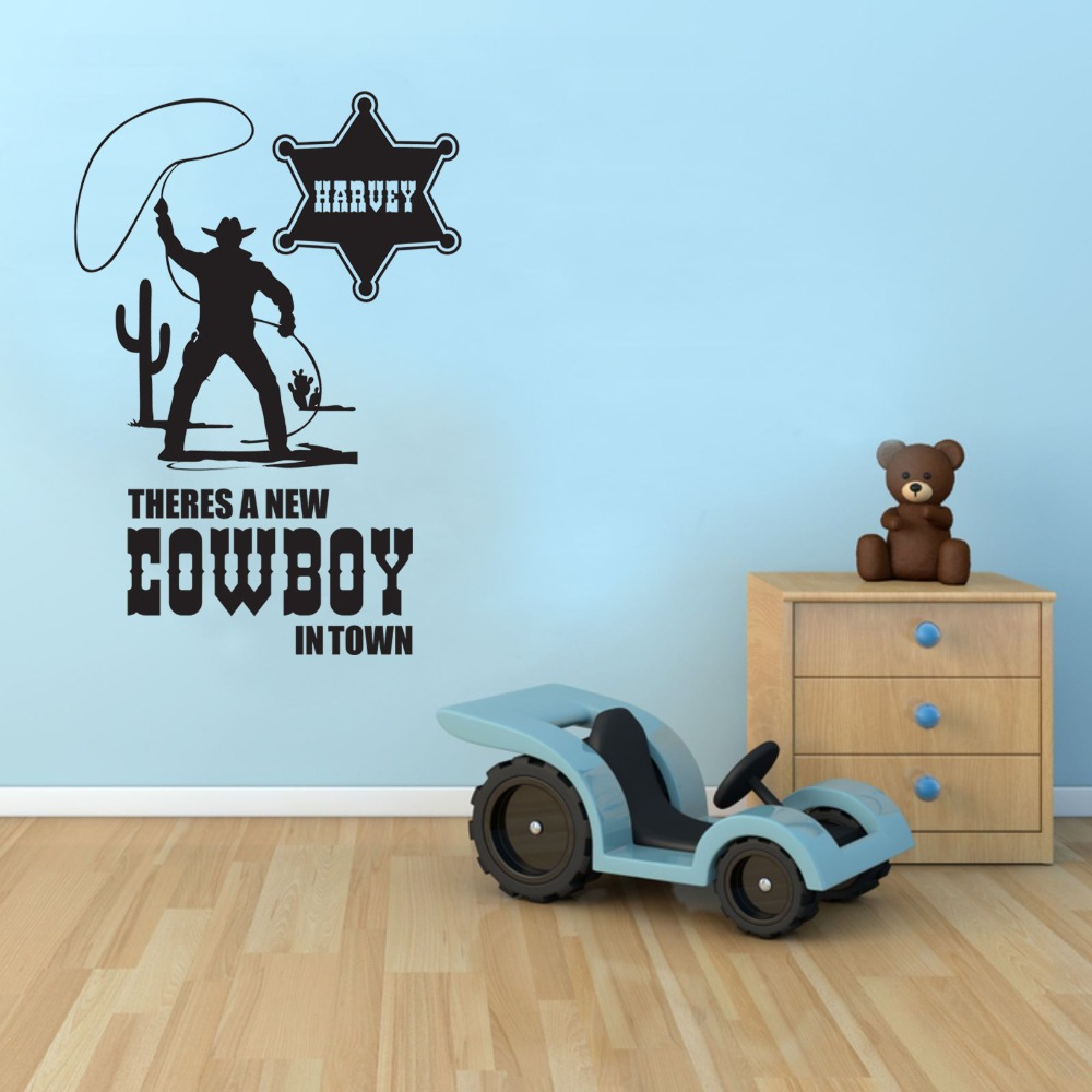 Customer-made COWBOY WALL STICKER PERSONALISED BOYS BEDROOM VINYL CHILDREN'S TRANSFER - -You Choose Name and Color(China)