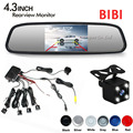 Car Video Reverse Parking Sensor Kit Connect Rear view Camera 4 Led Lights Show Distance on 4.3 Inch Car Mirror Monitor