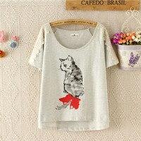 2015 Summer Style Women T Shirt Cat Printed Cotton Shirts Drop Shoulder Loose Ladies Clothes Fashion