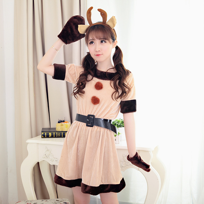 Christmas Dress Game Play Costume Female Santa Claus Reindeer Cosplay Costume Exotic Clothes Cosplay Disfraces Pleuche S55CK9