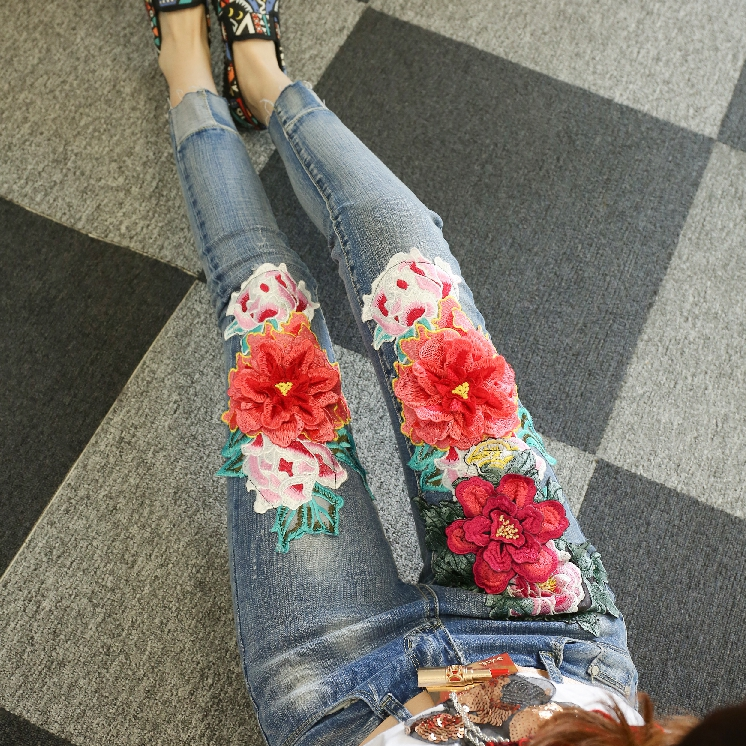 Vintage Denim Pants Women Clothing Spring Summer Cowboy High Waist Peony Embroidery Thin   Jeans   Trousers Students Cowboy Pants