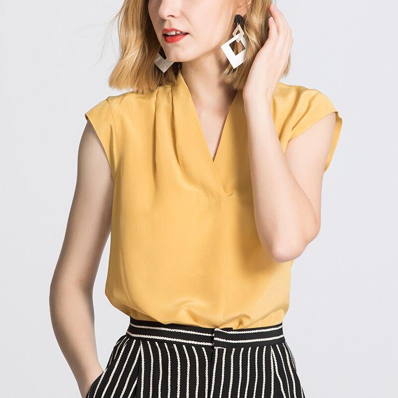 Frauen Bluse 100% ECHTE SEIDE Crepe V neck Sleeveless Bluse Ingwer Büro Dame Hemd 2019 Frühling Sommer Bluse Shirt-in Blusen & Hemden aus Damenbekleidung bei  Gruppe 2