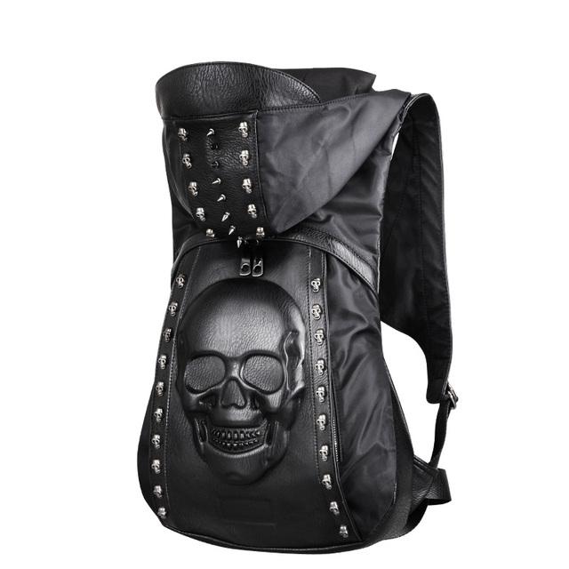 Novo 2016 Moda Personalidade 3D crânio rebites mochila de couro mochila crânio com Capuz vestuário tampa saco cruz sacos homem hiphop