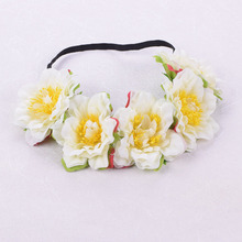 CXADDITIONS Fabric Flower Headband Elasticity Headwrap Crown Hair Accessories Floral Wreath Wedding Bridesmaid Girl