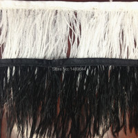 Wholesale! 20m 3 4 inch 8 13cm wide natural white/black ostrich feathers, ribbons feather fringe trim feather