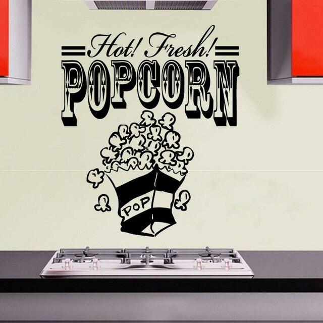 Hot Fresh Popcorn Wall Sticker Kitchen Decor Art Vinyl Decal DIY ...