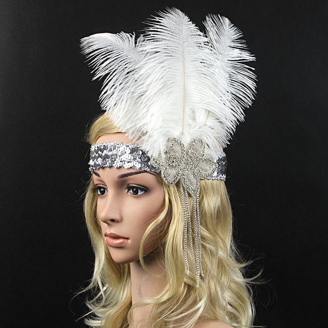 Branco boêmio Franja Pena Glitter Prata da Pena Do Pavão Headband Elastic Faixa de Cabelo Headwear Marca Acessórios Para o Cabelo de Noiva