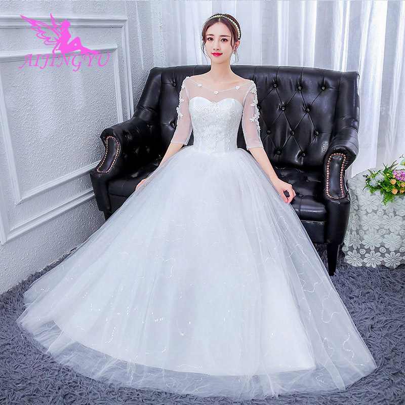AIJINGYU 2018 wholesale free shipping new hot selling cheap ball gown lace up back formal bride dresses wedding dress FU168