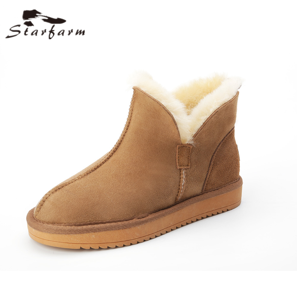 STARFARM Wool Boots Genuine Leather Boots Winter Shoes Warm Shoes High Quality Women Bootie Snow Boots Lady Russian Bootie New new women high quality flat boots winter women s snow boots beige black brown warm classical flock add wool boots n03