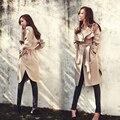 Высокое Качество 2016 Новая Мода Весна Осень Женщины Пальто длинные Пиджаки Плюс Размер Талии Тонкий Плащ Женщины Весна пальто