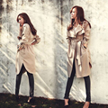 High Quality 2016 New Fashion Spring Autumn Women Trench Coat Long Outwear Plus Size Waist Slim Trench Coat Women Spring Coat