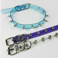Großhandel Handgemachten Punk Gothic Blau Lila Rosa Vinyl Transparent Spikes Halsband Klar PVC Kragen Halskette