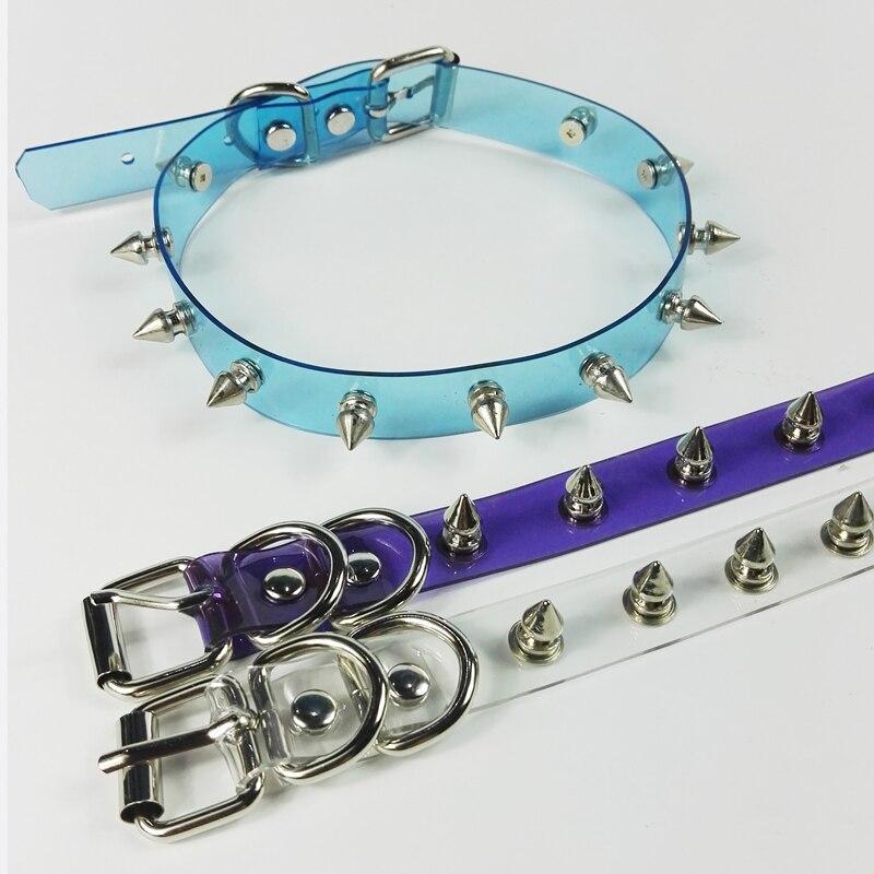 Wholesale Handmade Punk Gothic Blue Purple Pink Vinyl Transparent Spikes Choker Clear PVC Collar Necklace gothic floral lace choker