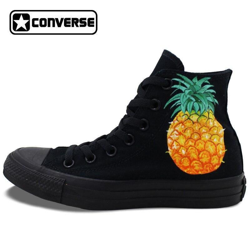 Prix pour Tous les Noir Converse All Star Femmes Hommes Chaussures Ananas Conception Originale Peinte à la main Top Toile Sneakers D'anniversaire Cadeaux