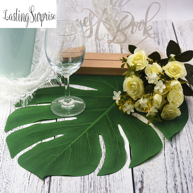 12pcs 35x29cm Artificial Leaves Tropical Palm Tree Silk Green For Summer Theme Party Table Runner Wedding