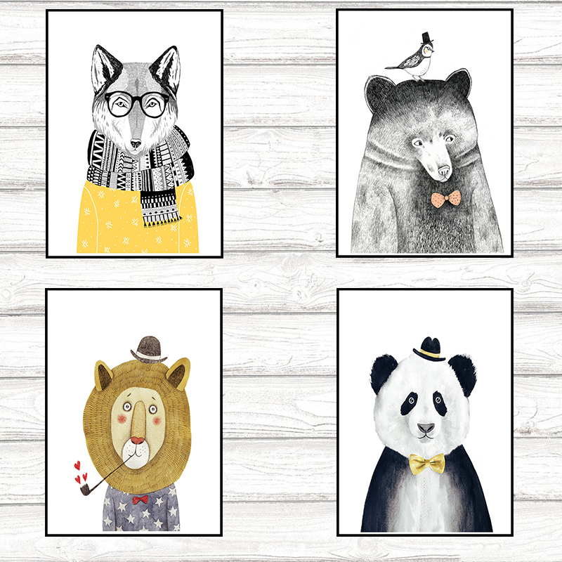 4 style Animal Design Coated paper Poster Creative Coffee Bar Counter For Room Decor 42* ...