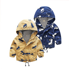New Brand 2017 Fall Baby Boys Korean Cartoon Pattern Topcoat/outerwear Children Clothing Zipper Hooded Cool Boys Jackets Fashion