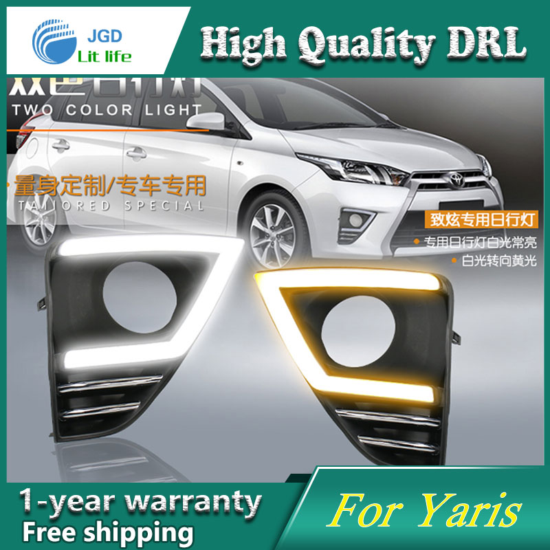 high quality ! daytime Running Light Fog light High Quality LED DRL case for Toyota YARIS 2015 2016 fog lamp 12V 6000K high quality 12v 6000k led drl daytime running light case for ford ecosport 2013 2014 fog lamp frame fog light super white
