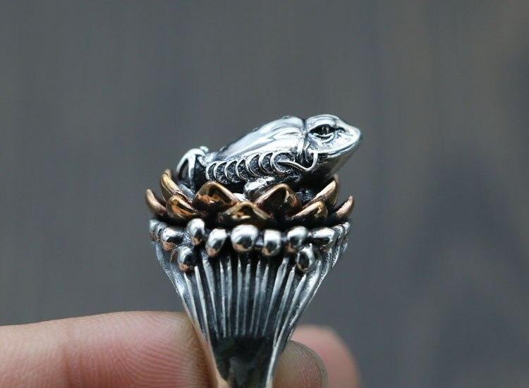 Argento 925 di loto dell'annata rospo maschio carattere originale anello di apertura di regolazione indice Thai argento artigianato anelli-in Anelli di fidanzamento da Gioielli e accessori su  Gruppo 3