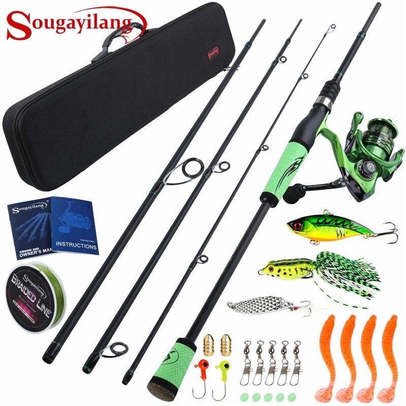 Sougayilang 2.1M 2.4M canne à pêche Combos en Fiber de carbone filature pêche pêche bobine de pêche transporteur sac leurre ligne ensembles Pesca