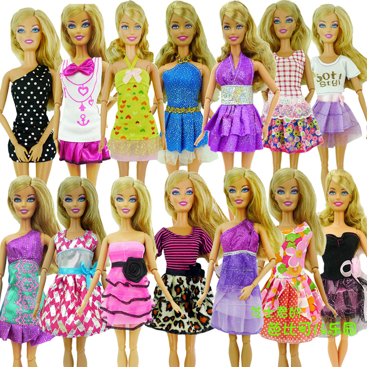 2016 New One Set=5 Pcs Mix Sorts Beautiful Handmade Party Clothes Fashion Dress For Barbie Doll, Best Gift Toys Girls Gifts