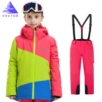 VECTOR Boys Girls Ski Sets Winter Waterproof Windproof Kids Ski Jacket Children Outdoor Warm Hooded Snowboard Sports Suits 70005