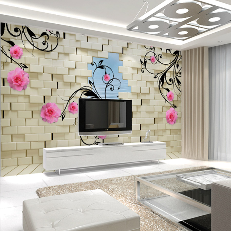 Wall Covering For Living Room Aliexpresscom Buy Custom Flower Painting The Living Room Tv