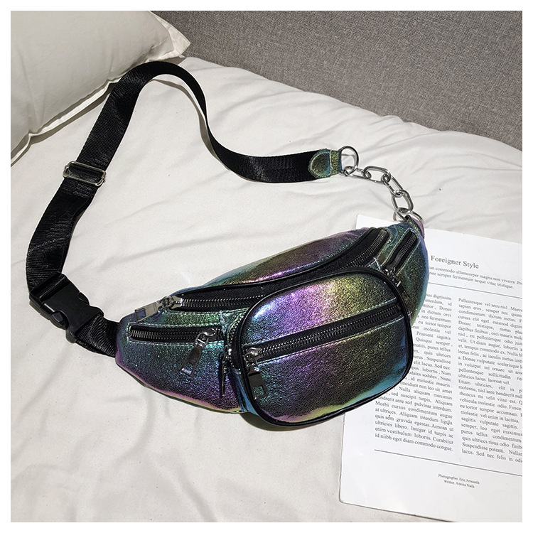 QIUYIN Transparent Fanny Pack Women Bum Bag Belt bag 2019 Hot Bling Waist Pack Punk Lady Girl Rainbow PU Laser in Waist Packs from Luggage Bags