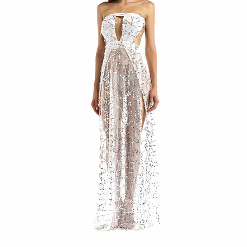 ... Sexy Women Strapless Sequin Long Dress Clubwaer 2018 Elegant Gold Black  White Party Dresses Maxi Vestidos ... 68c2951acc51