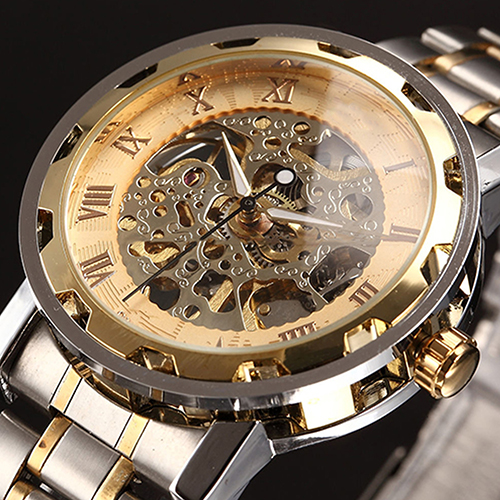Hot Men Skeleton Roman Numerals Hollow Dial Stainless Steel Band Mechanical Watch