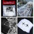 2016 Nuevos Juguetes de Halloween Divertido Gag Juguetes Partido Blanco Elástico Telaraña telaraña de Horror de Halloween Bar Decoración de la Casa Embrujada