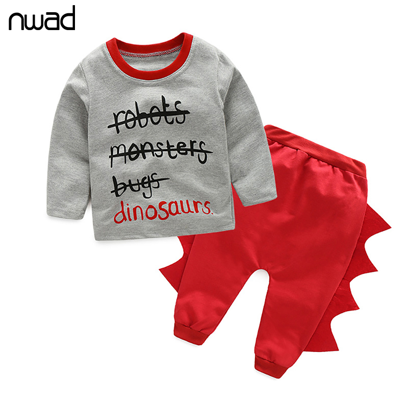 2017 Spring Autumn Baby Clothing Set Dinosaur Clothes Suit For Toddler Boy Girl Casual Clothes Halloween Costume FF163