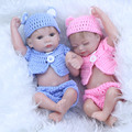 27 см Мини Детские Reborn Dolls Близнецы 11 Дюйм(ов) Реалистичные Новорожденные Младенцы Реалистичные Полный Силиконовые Винил Мальчик и Девочка Спальные игрушка