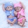 27 cm Mini Lifelike Bonecas Reborn Gêmeos 11 Polegadas Realistas Bebês Recém-nascidos Do Bebê Vinil Silicone Cheio Menino e Menina Dormindo brinquedo