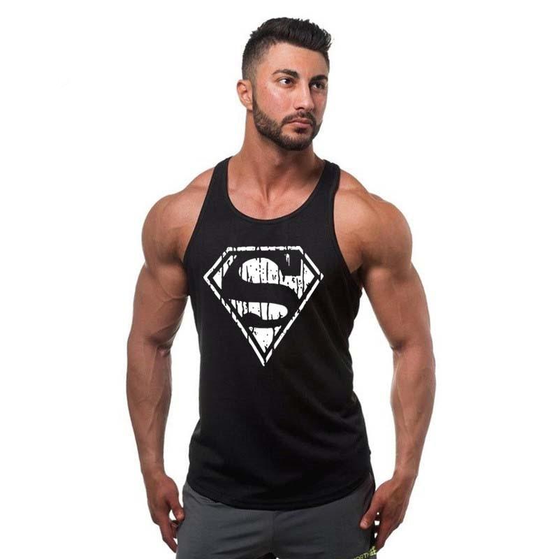 2018new Bodybuilding Stringer Tank Top Superman Gyms Sleeveless Men Fitness Vest Singlet Sportswear Workout Tanktop